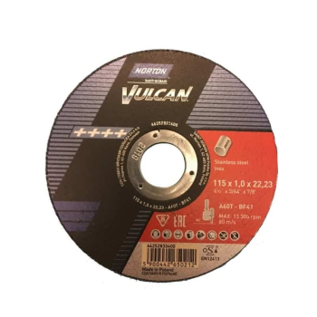 Norton Vulcan 115mm x 1.0mm Extra Thin Cutting Disc A60T Inox