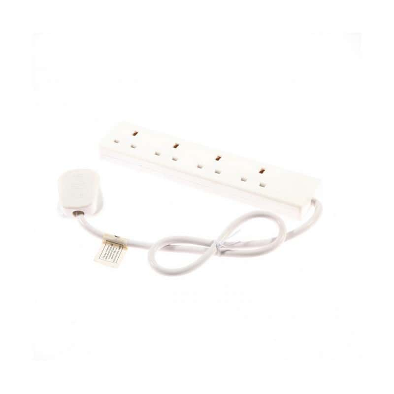 SMJ 13A 4 Gang White Extension Lead 2mtr