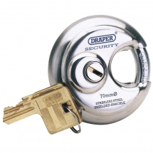 Draper 70mm Disc Padlock Stainless 64209
